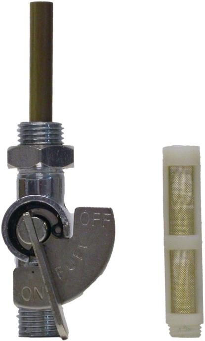"""Picture of Petrol Tap 1/2"""" Chrome On/Off tap with nut."""