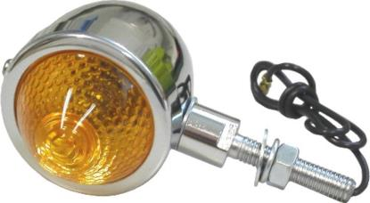 """Picture of Bullet Light Chrome with Amber Lens & 1"""" Stem"""