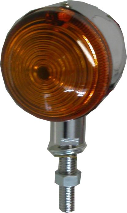 """Picture of Bullet Light Chrome with Amber Lens, 1"""" Stem & No Rim"""