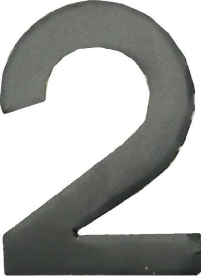 """Picture of Digit '2' 2.5"""" Matt Black (Per 10)"""