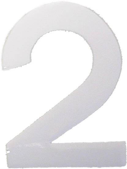 """Picture of Digit '2' 2.5"""" Gloss White (Per 10)"""