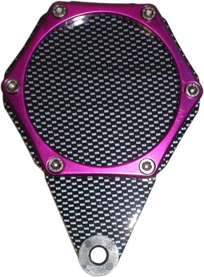 Picture of Tax Disc Holder Hexagon Carbon Look 6 Studs Purple Rim