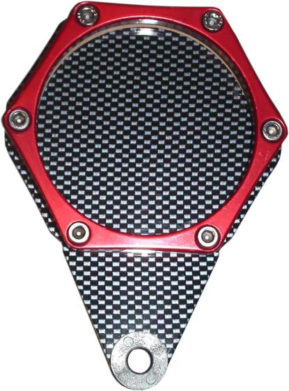 Picture of Tax Disc Holder Hexagon Carbon Look 6 Studs Red Rim