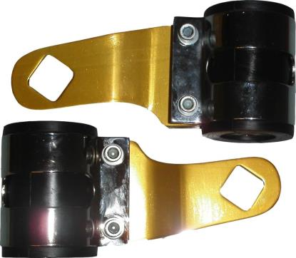 Picture of Headlight Brackets Gold Deluxe to fit forks 26mm to 37mm