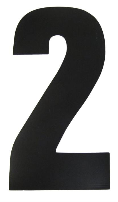 """Picture of Competition Numbers Black 7"""" '2' Matt (Per 10)"""