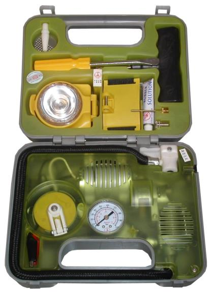 Picture of Mini Pump Tyre Inflator, battery operated with gauge in box