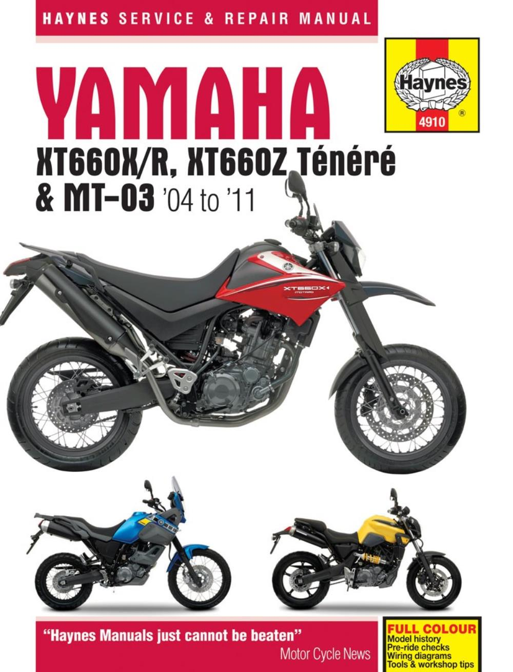 Manual Haynes For 2006 Yamaha Xt 660 X Supermoto 1d26 Ebay Rhino Wiring Diagram Description