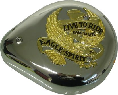 Picture of Air Filter Tear Drop Chrome with Gold Banner & Live to Ride