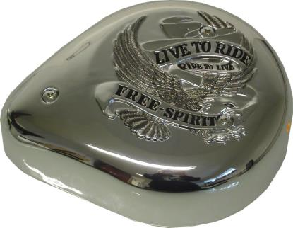 Picture of Air Filter Tear Drop Chrome with Banner & Live to Ride