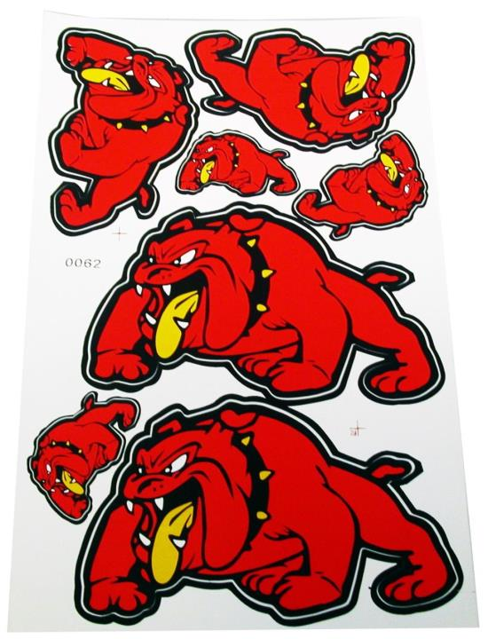 Picture of Stickers Red Bull Dog, 2 Large 2 Medium & 3 Small