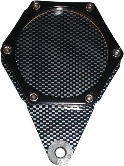 Picture of Tax Disc Holder Hexagon Carbon Look 6 Studs Black Rim