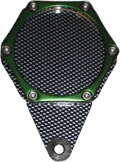 Picture of Tax Disc Holder Hexagon Carbon Look 6 Studs Green Rim