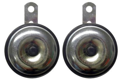 Picture of Horn 12 Volt Chrome front with black body O.D.75mm (Pair)