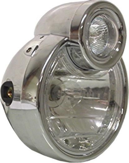 "Picture of Headlight Complete Chrome 6"" with cyclops spotlight"