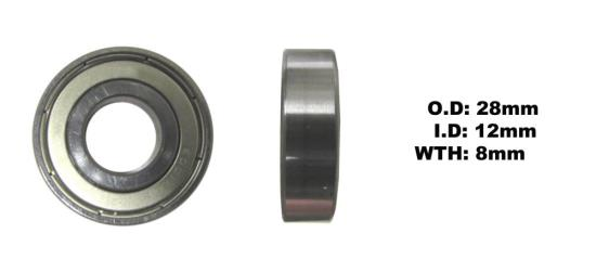 Picture of Bearing SNR 6001ZZ(I.D 12mm x O.D 28mm x W 8mm)