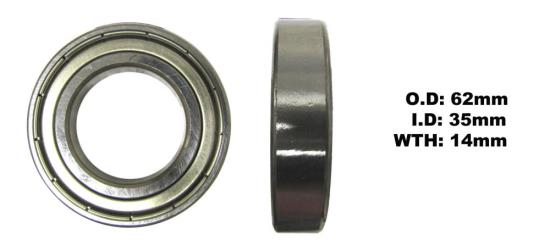 Picture of Bearing SNR 6007ZZ(I.D 35mm x O.D 62mm x W 14mm)