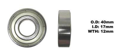Picture of Bearing SNR 6203ZZ(I.D 17mm x O.D 40mm x W 12mm)