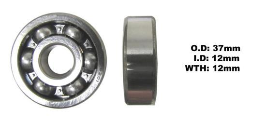 Picture of Bearing SNR 6301(I.D 12mm x O.D 37mm x W 12mm)
