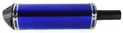 Picture of Exhaust Universal Triangular Blue 38mm Inlet Baffled includes Bracket